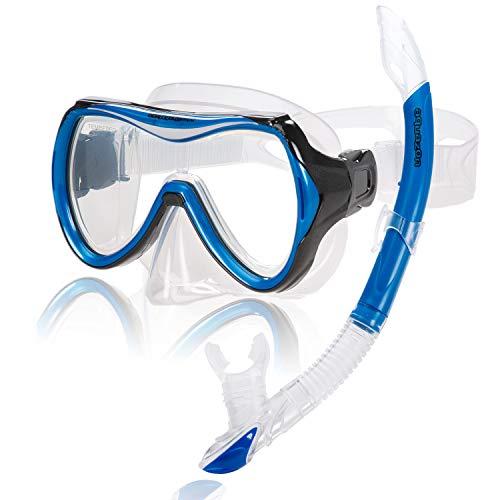 AQUAZON Capri Hochwertiges Schnorchelset, Tauchset, Schwimmset, Schnorchelbrille mit Tempered Glas, Schnorchel mit Semi Dry top für Kinder, Jugendliche Von 7-14 Jahren, Farbe:Blue