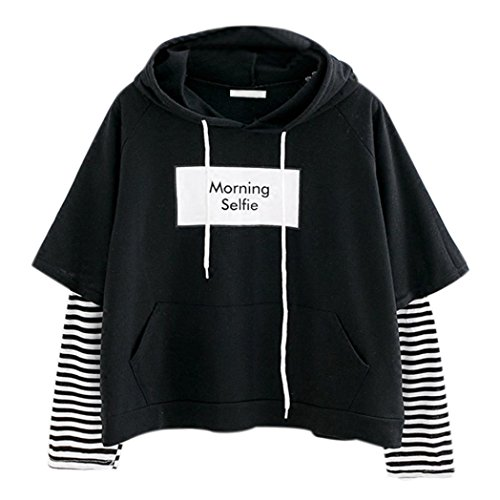 Hot Sale! Paymenow Women Teen Girls Fashion Crop Sweatshirts Layered Long Sleeve Striped Stitching Letter Print Hoodie Pullover Shirts (M, Black)