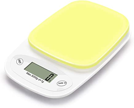 Digital Kitchen Multifunction Food Scale, 22Lbs/5Kg Precision Digital Scales, Kitchen Scales Digital Weight Grams and Ounces 0.1G, with Large LCD Display,Yellow
