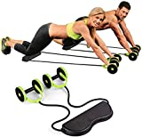 poeo 5-in-1 fitness doppia ab roller attrezzatura per esercizio fisico, rotella di ab esercizio attrezzature fitness e resistenza full body trainer,verde