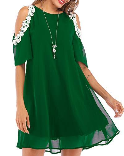 Aofur Summer Chiffon Lace Dress Ladies 2018 Cold Sleeve Casual Plus Size S-XXXXL Sundress Women Solid Elegant Party Dress (Large, Green)