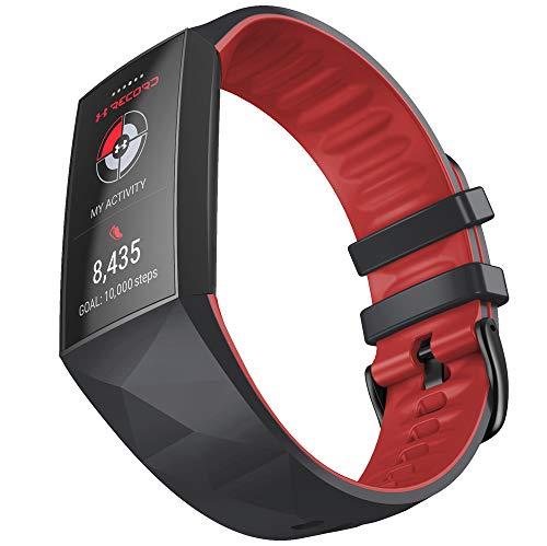 KINOEHOO Correas para relojes Compatible con Fitbit charge 3/4 Pulseras de repuesto.Correas para relojesde siliCompatible cona.(Negro + rojo)