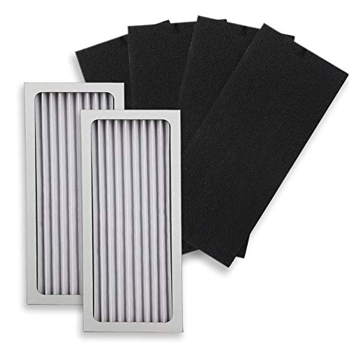 PUREBURG 2-Pack Replacement 2 HEPA Air Filters and 4 Activated Carbon Pre-Filters Compatible with Hamilton Beach 990051000 fits TrueAir Glow Compact Pet 04383 04384 04385 04386 Air Purifiers