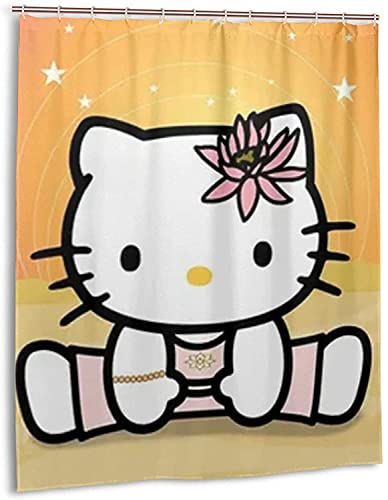Hello-Kitty Duschvorhang Badezimmer Dekor Exquisite Schimmelresistent Wasserdicht Extra Lang Badvorhang mit 12 Haken