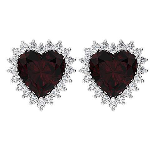 Aretes de granate solitario de 3 quilates, certificado SGL, declaración de boda, HI-SI, pendientes de diamante, forma de corazón, solitario 14K Oro rosa, Par