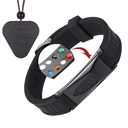 EMF Protection Bracelet, Anti Radiation Bracelet 7 in 1 Joint Pain and Carpal Tunnel Bracelets for Men and Women | EMF Protection Necklace/Pendant(Black)