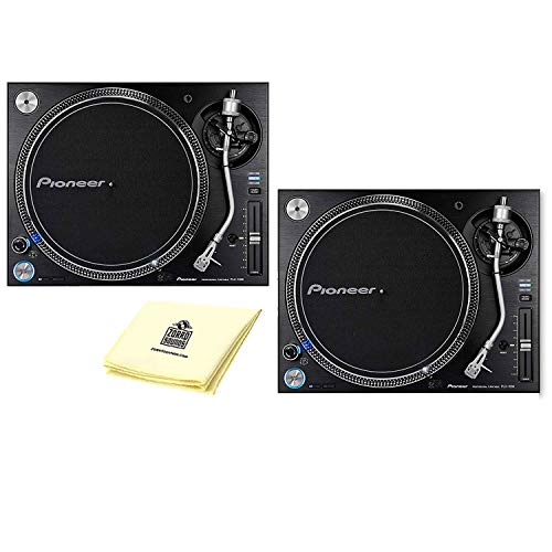 Pioneer DJ PLX-1000 High-torque Direct Drive Professional Turntable (PAIR) with Low-noise, High-stability Design, 3 Tempo Ranges, Professional Playback Quality BUNDLE Zorro Sounds Polishing Cloth