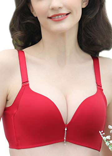 Push Up Wirelss Bra for Women - Intelligent Curve Full Cup Underwire - Red/28B