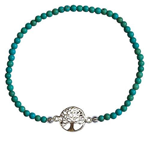 Pulsera de plata 925 con diseño de árbol de la vida con 40 perlas turquesas y cordón flexible. Joya de alta calidad, elegante y espiritual, perfecta para cualquier ocasión.