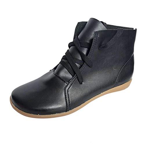 Boot Donna Neve Scarpe da Ginnastica Casual Retro Leather Lace-up Scarpe Leggere a Fondo Piatto Morbido Leggero (39 EU,Nero)