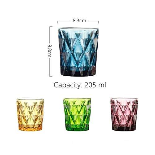 YLA 4 Whiskygläser 250 ml Farbe Trinkbecher Wodka Likör Bier Gläser Restaurant Wein Tasse, multi, 200 ml