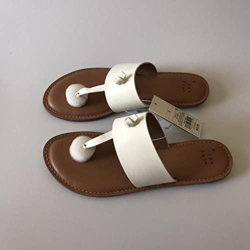 COQUI Slippers Mujer casa,Blanco Playa Adulta con Color Blanco con Color sólido Zapatillas Huecos Arena Casual-Blanco_42