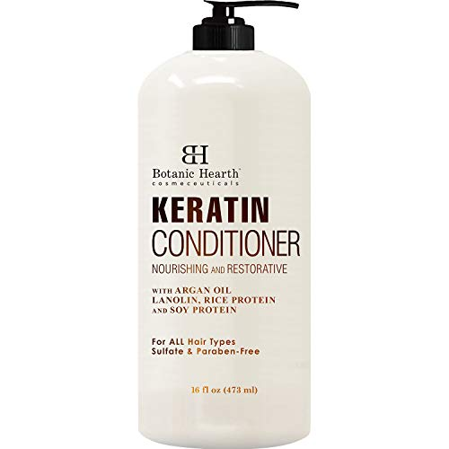 Keratin Conditioner with Argan Oil by Botanic Hearth - Natural Sulfate Free Keratin Hair Treatment...