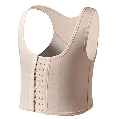 JARAZIN Women Lesbian Transgender Tomboy FTM Breathable Compression Hook Chest Binder Tank Top (M,Nude