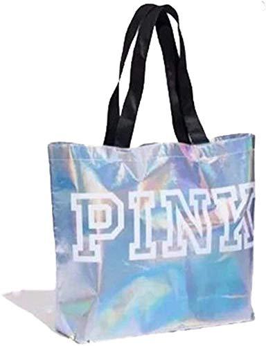 Victoria's Secret PINK XL Iridescent Silver Tote