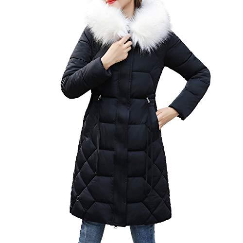 Dames Warm Winter Dik Bovenkleding, Dames Lange Mouw Katoen Gecapitonneerde Jas Zip up Zijzakken Slim Lange Jas