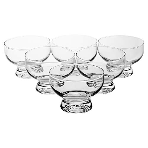 Set of 6 Short Stemmed Glass Dessert Sundae Icecream Cocktail Bowl by