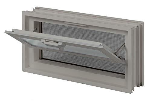 FUCHS Ventana de ventilación beige en vez de 2 bloques de vidrio tamaño 24x24x8 cm – con alambrera