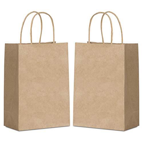Wodasi 25 Stück Geschenktüten, Papier Geschenktüten 21 * 8 * 15cm, Braune Papiertüten mit Henkel, Papiertragetasche, Papiertüten aus Kraftpapier, Papiertüten für Part für Partys, Hochzeiten, Feiern