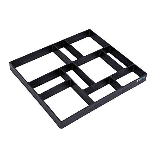 GOTOTOP - Molde para jardín, diseño de Cemento de hormigón, con Piedra de ladrillo, Reutilizable, para Hacer Caminatas, pavimentos o Caminos, diseño Rectangular con 10 Rejillas, 45 x 40 x 4 cm