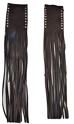 Genuine Leather Motorcycle Handlebar Throttle Grip Covers with fringes Black