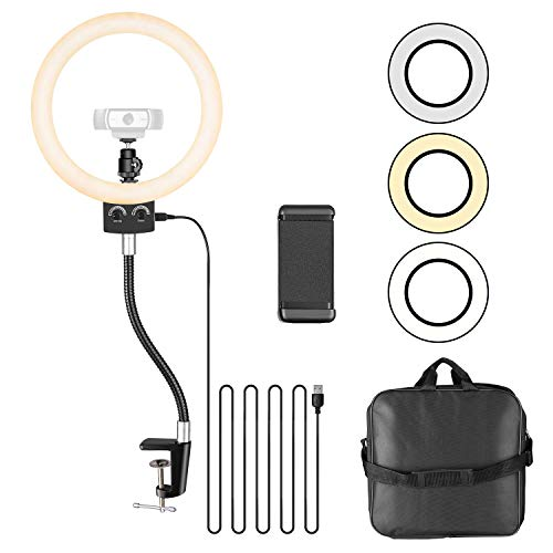 Neewer 22,5cm Luz Anillo LED USB Regulable con Soporte Flexible y Soporte Teléfono para Cámara Web Logitech C920 C922x C930e Brio 4K C925e C922 y Smartphone