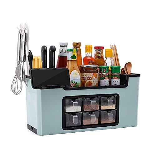 haixclvyE Multi-Function Spice Box Rack Seasoning Bottle Storage Box Kitchen Brush Jar Spoon Organizer Holder Case Plastic Kitchen Supplies