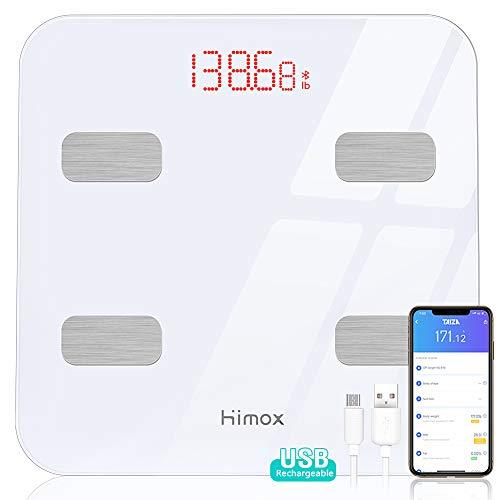 HIMOX USB Carga Báscula Grasa Corporal 23 Medidas (Grasa Corporal/Músculo/BMI etc.) Corporales Esenciales Báscula de Baño Digital Grasa Corporal Bluetooth4.1 Inteligente Máximo 400 lbs/180kg