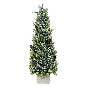 "SN Decor Artificial Pinecone Boxwood Tree Small Topiary 1PC Boxwood Christmas Decoration Tabletop Holiday Decor Party Favors Rustic Christmas Trees 28""x8"" Pine Cone Boxwood in White Pot – New"