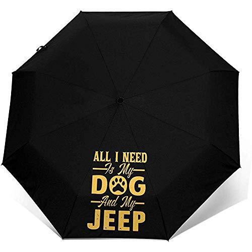 Alles was ich Brauche ist Mein Hund Jeep Travel Mini Regenschirm Windproof UV Folding Compact Umbrella 8 Ribs