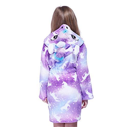 Hyvtom Peignoir Enfant Robe de Nuit en Flanelle Unisexe Robe de Chambre à Capuche