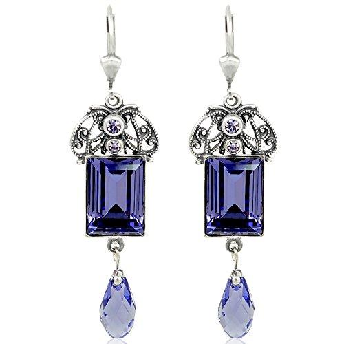 Jugendstil Ohrringe mit Kristallen von Swarovski® Lila Silber NOBEL SCHMUCK