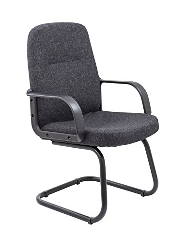 Office Hippo Office Desk Cantilever Chair No Wheels, Home Working, Fabric, Charcoal