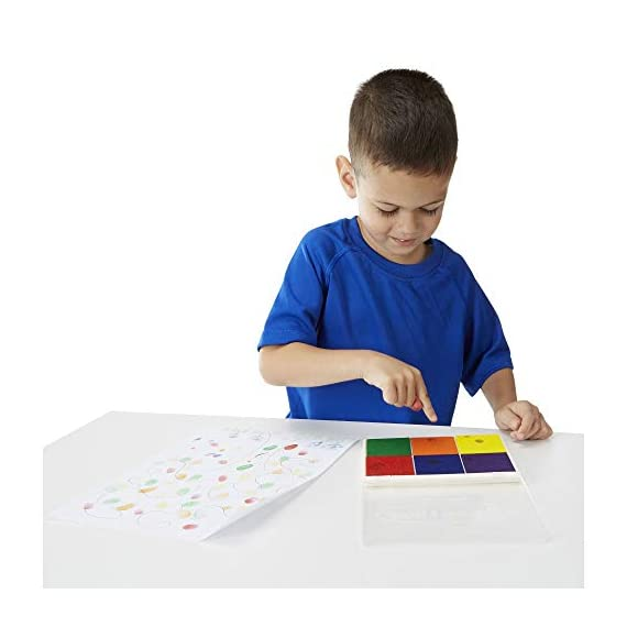 Melissa & Doug Rainbow Stamp Pad 2 MULTICOLORED STAMP INKPAD: The Melissa & Doug Rainbow Stamp Pad is designed for Melissa & Doug stamp sets. It includes 6 bright ink colors in primary and secondary hues. WASHABLE INK: This stamp pad color ink set is made from washable ink, which makes cleanup simple and efficient. ENCOURAGES SKILL DEVELOPMENT: Melissa & Doug's art supplies for stamp sets help kids develop multiple skills such as creative expression, basic storytelling, and fine-motor skills.