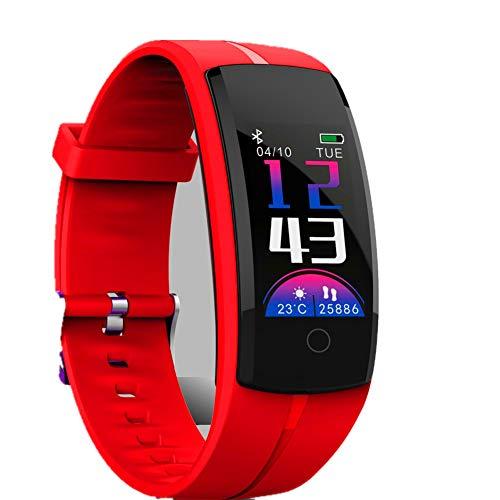 ZHIFDNJ Smartwatch Monitor de ritmo cardíaco podómetro recordatorio de mensajes inteligente, adecuado para Android 4.30r10s7.0 o superior, color rojo