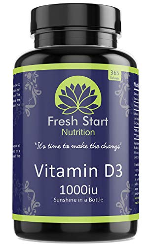 Vitamin D3 1000iu Tablets | 365 (1 Year Supply) Vegetarian Vitamin D Supplement Tiny Easy to Swallow Pills | VIT D as Cholecalciferol | Fresh Start Nutrition