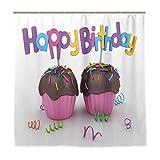 DYCBNESS Duschvorhang,Geburtstag Schokolade Cupcakes drucken,Vorhang Waschbar Langhaltig Hochwertig Bad Vorhang Polyester Stoff Wasserdichtes Design,mit Haken 180x180cm