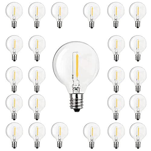 SanBon Pack de 25 bombillas LED transparentes G40, 0,6 W, aptas para casquillo E12 y C7, bombillas transparentes para balcón, porche, fiesta, decoración