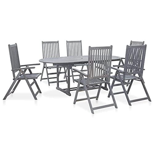 CDPC Juego de Comedor al Aire Libre de 7 Piezas, Juego de Mesa y sillas de Comedor de Madera para jardín, Muebles de Exterior Plegables, Madera Maciza de Acacia, Gris