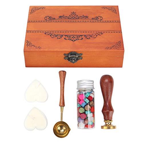 Kit de sellos de cera retro vintage de 6 piezas, 1 sello + 1 cuchara + 1 cera de sellado de botella + 2 cera en forma de corazón + 1 caja de madera, herramienta de sellado de sobres