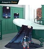linyangpttowel Space Home Ensemble de Serviettes de Bain Motif Alien et Astronaute Doux, Peluche, Couleur-07, 3 Piece Set - M(1 Bath, 1 Hand, 1 Washcloths)