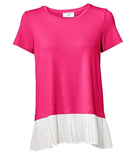 RICK CARDONA Shirt Blusen-Shirt leicht ausgestelltes Damen Plissee-Shirt mit Chiffon Kurzarm-Shirt Party-Shirt Pink/Weiß, Größe:40