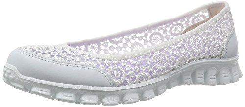 Skechers Sport Women's Ezflex 2 Flighty Flat,White Flighty,7.5 M US