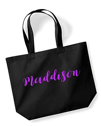 Maddison Personalised Shopping Tote in Black Colour Purple Print Birthdays Weddings Christmas Reusable Shopping Bag