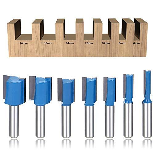 Set di 7 punte dritte da fresa, con codolo da 8 mm, strumenti per la lavorazione del legno, misure 6 mm, 8 mm, 10 mm, 12 mm, 14 mm, 18 mm, 20 mm