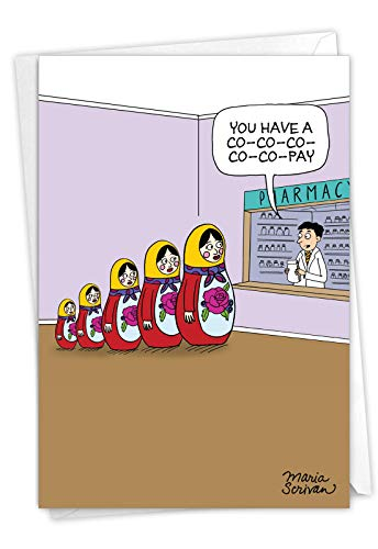 NobleWorks - Funny Get Well Soon Card with Envelope - Cartoon Humor, Feel Better Greeting - Co-Pays C7277GWG