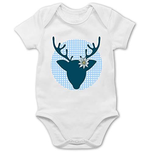 Shirtracer Oktoberfest & Wiesn Baby - Oktoberfest Hirsch mit Edelweiß - blau - 6/12 Monate - Weiß - Edelweiss - BZ10 - Baby Body Kurzarm für Jungen und Mädchen