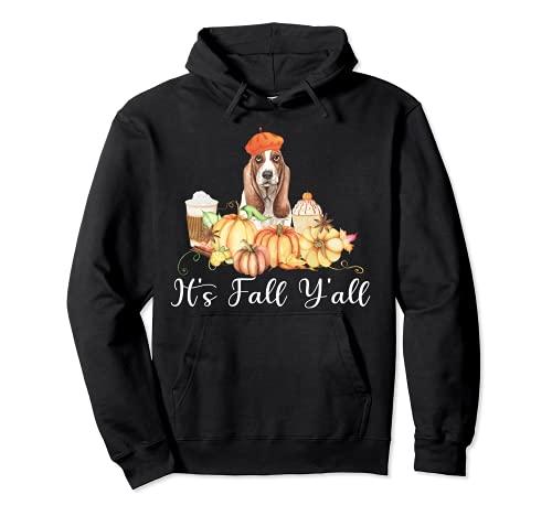 It's Fall Y'all Funny Dog Lover Basset Hound Autumn Pumpkin Sudadera con Capucha