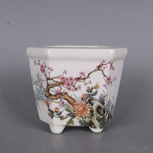 XinAndy Pastel Hexagonal Pattern of Small pots flea Bonsai pots/粉彩花纹六角小花盆旧货 盆景盆