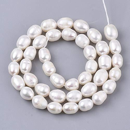 1 hebra perlas naturales de perlas de agua dulce cultivadas perlas de piedras preciosas sueltas 8 ~ 10 mm para hacer collares y pulseras, pendientes de joyería alrededor de 41 ~ 42 piezas/hebra